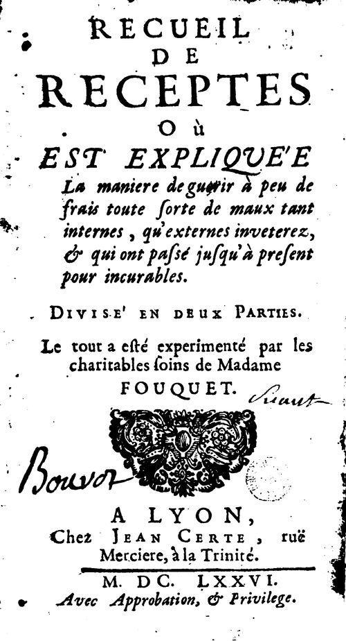 Recueil de recettes - Madame Fouquet