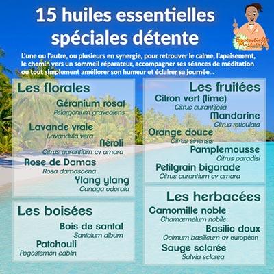 15 huiles essentielles spéciales détente